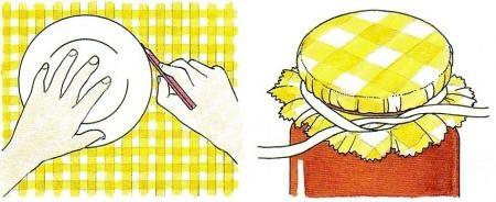 conserve,marmellate,confetture,salse,sottaceti,ritagli,stoffa,nastri,elastico,barattoli,credenza