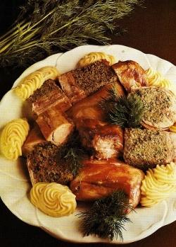 porchetta,coniglio,oca,finocchio selvatico,olio,forno,teglia,cuocere,conero