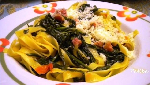 3. Tagliatelle stridoli pancetta affumicata pecorino