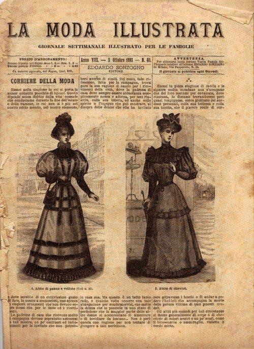 5 Ottobre 1893, LA MODA ILLUSTRATA giornale settimanale