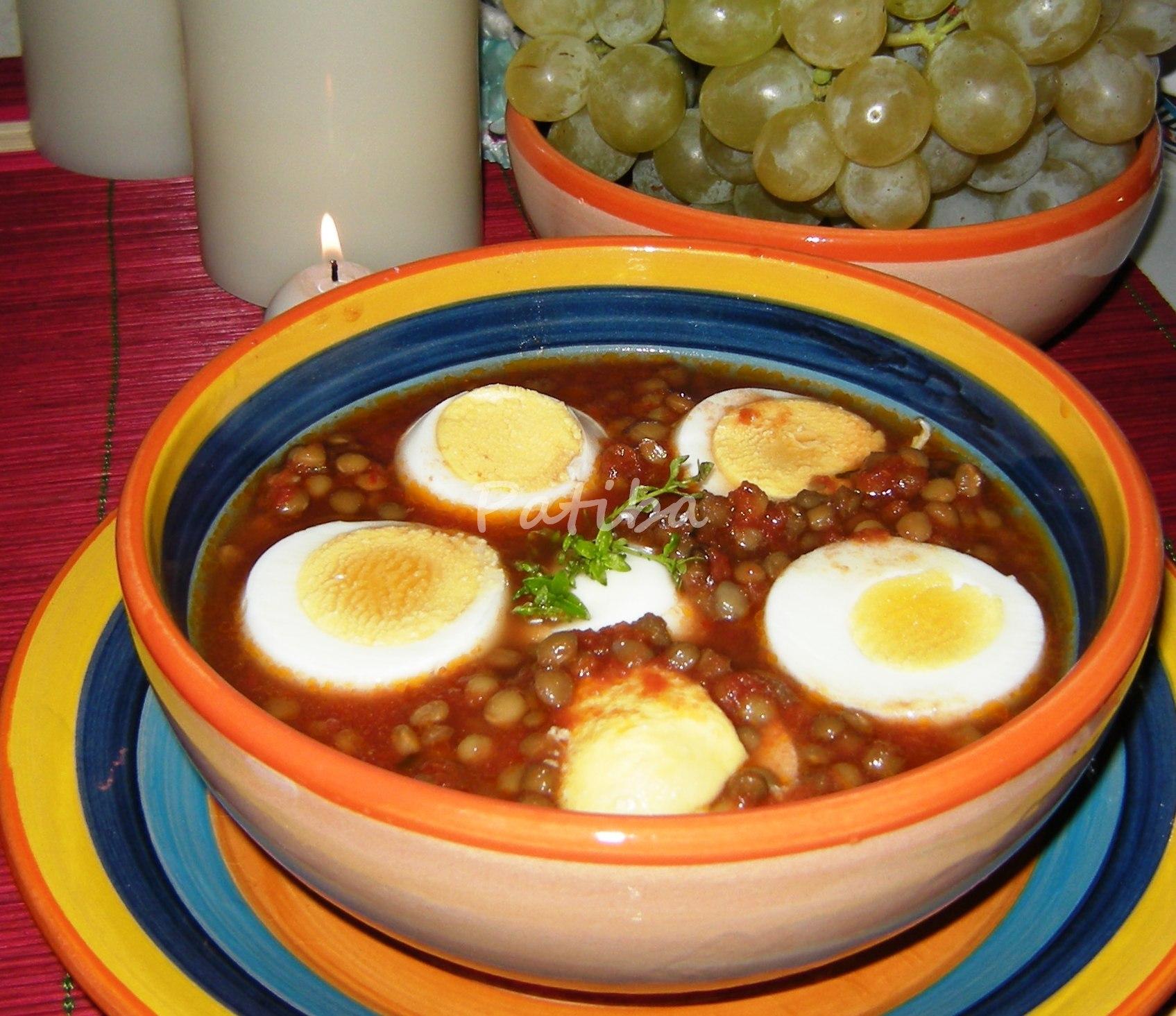 Curry di uova sode e lenticchie