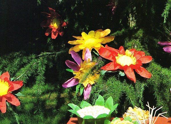 Tavola colorata e fiore per cappello x festa di bambini 3