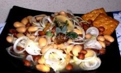 Insalata di fagioli con funghi e aceto balsamico
