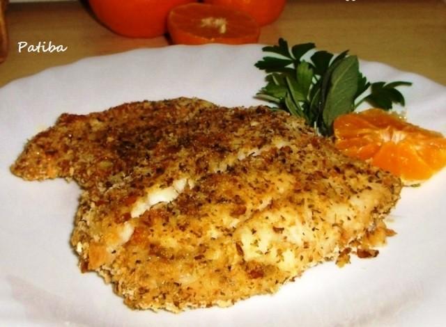 Filetto di persico impanato e cotto in forno