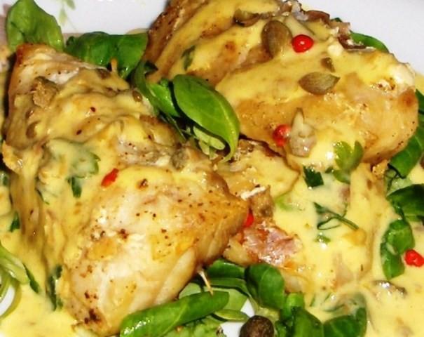 Filetti di cernia in salsa alla senape di Dijon