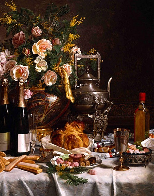 escoffier Champagne_Bread_Biscuits_and_Cakes_on_a_Draped_Table,_Jules_Larcher