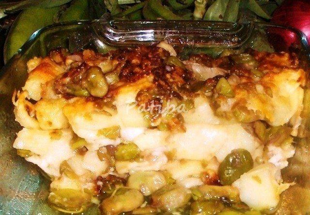 Orecchiette gratinate con fave e pecorino