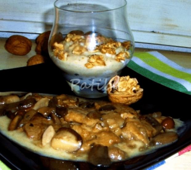 Scaloppine con champignon in salsa di noci
